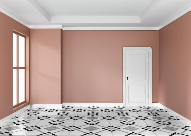 空のオレンジ色の部屋のインテリアデザインの3dレンダリング