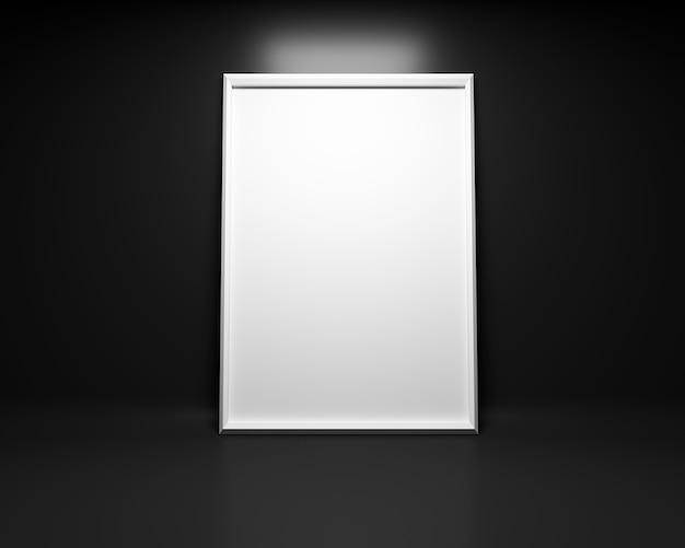 黒い背景に白い絵のフレームモックアップ。 3dレンダリング