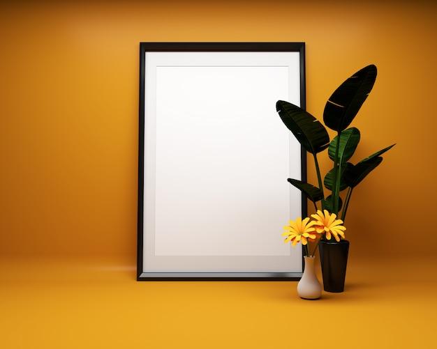 植物とオレンジ色の背景に白い絵のフレームモックアップ。 3dレンダリング