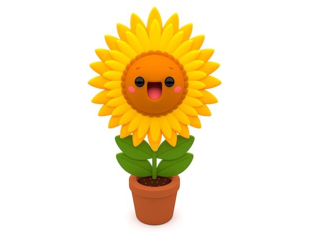 Веселый желтый цвет подсолнуха 3d мультяшный персонаж внутри цветочного горшка на белом белом фоне