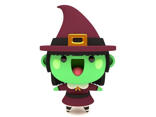 おかしくてかわいい3dハロウィーンの緑の魔女キャラバンスタイル