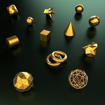 3d-рендеринг геометрии золотой цвет фона и текстуры.