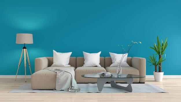 青いリビングルームのモダンな茶色のソファ、3dレンダリング
