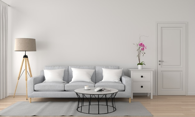 Диван и лампа в гостиной 3d-рендеринг