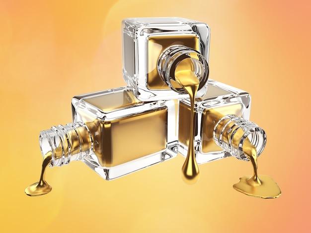 Иллюстрация 3d бутылки золота косметической с падениями