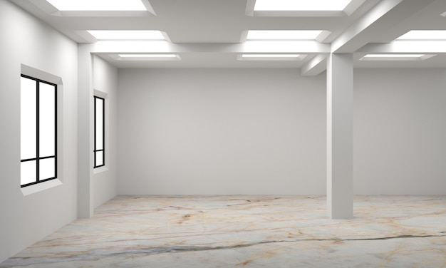 白い空のスカンジナビアの部屋のインテリアのアイデア。背景のインテリア。北欧インテリア3dイラスト