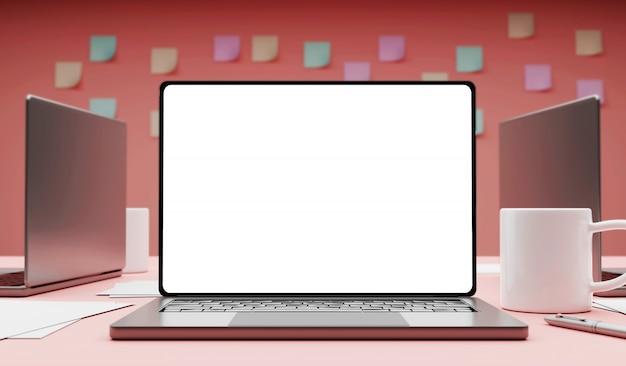 3d рендеринг офисная сцена. ноутбуки и кружка кофе.