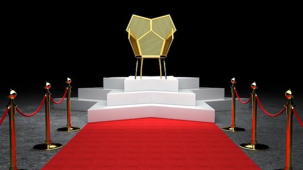 Ковер красного ковра, лестница и золотая полоса барьера концепция и король трон стул 3d рендеринга