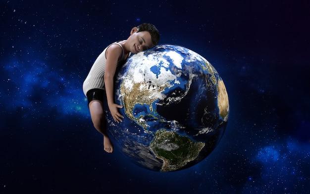 Иллюстрация 3d мальчика обнимая глобус. зеленый мир, окружающая среда, сохранить концепцию мира, я люблю свою планету.