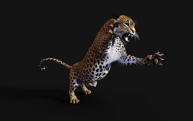 Иллюстрация 3d изолированного леопарда на черной предпосылке