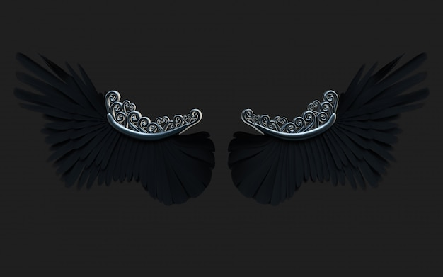 Крыла демона иллюстрации 3d, оперение черного крыла изолированное на черноте с путем клиппирования.