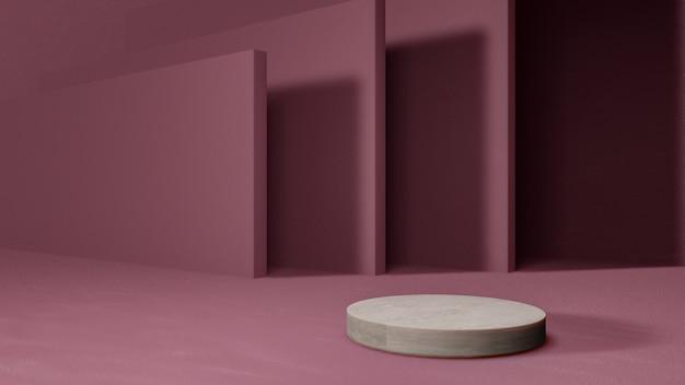 ピンク色の壁に空白の製品スタンド。 3dレンダリング。