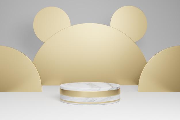 Макет студии с мраморными цилиндрическими формами, подиумом, площадками для презентации продукции, с украшением золотыми предметами на сером фоне 3d-рендеринг