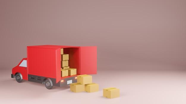 配送サービスのコンセプト、配送バン3dレンダリング