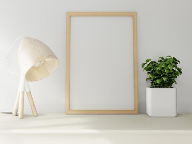 Макет плаката на фоне белой стене. 3d-рендеринг.