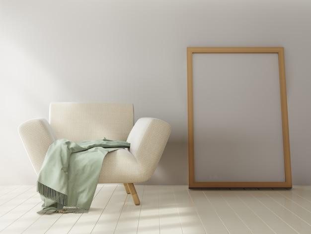 白い壁の背景にモックアップポスター。 3dレンダリング