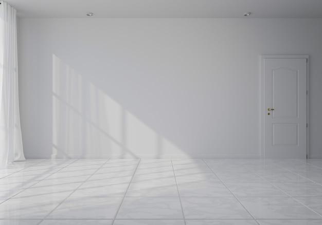 白塗りのフローティングラミネートフローリングとバックグラウンドで新しく塗られた白い壁の空の部屋。 3dレンダリング