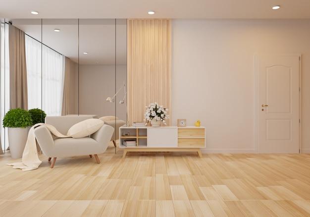 白い壁付きのリビングルームにグレーのソファーのあるインテリア。 3dレンダリング