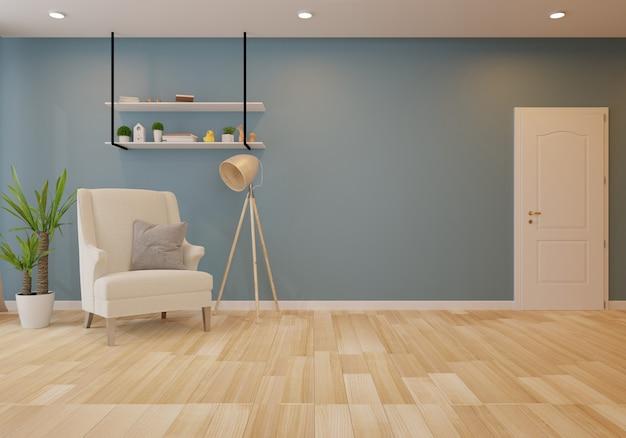 Интерьер с серым диваном в гостиной с темной стеной. 3d рендеринг