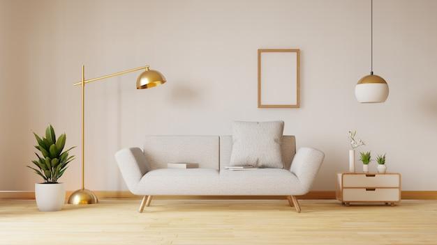 青い布のソファ、ランプ、植物のある空のリビングルーム。 3dレンダリング
