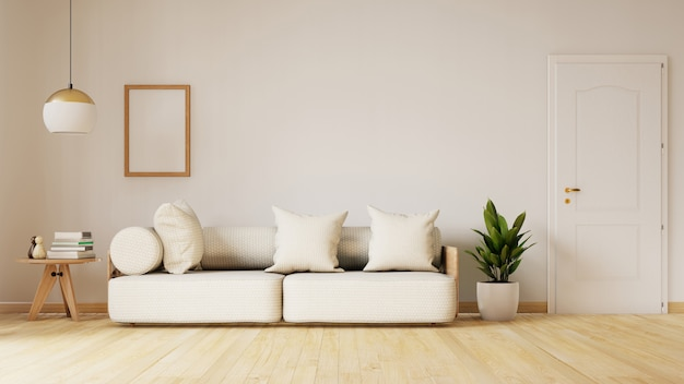 Современный интерьер живущей комнаты с софой и зелеными растениями, лампой, столом. 3d-рендеринг