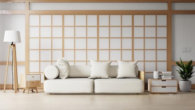 Современная гостиная с белым диваном имеет шкаф и деревянные полки на деревянном настиле и белой стене, 3d рендеринг