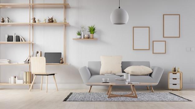 白いソファとインテリアの空白のフォトフレームリビングルーム。 3dレンダリング。