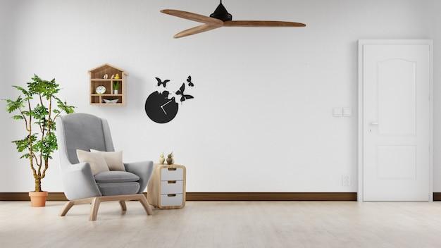 Интерьер плакат макет гостиной с красочными белым диваном. 3d-рендеринг.