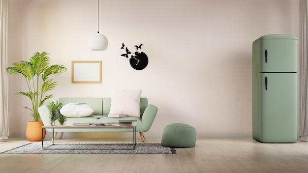 カラフルな白いソファ付きのリビングルームを模擬インテリアポスター。 3dレンダリング。