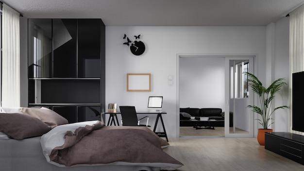 白いソファ付きのベッドルーム。 3dレンダリング。