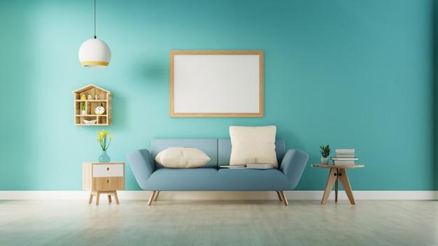 Современный интерьер живущей комнаты с софой и зелеными растениями, лампой, таблицей на голубой стене. 3d-рендеринг.