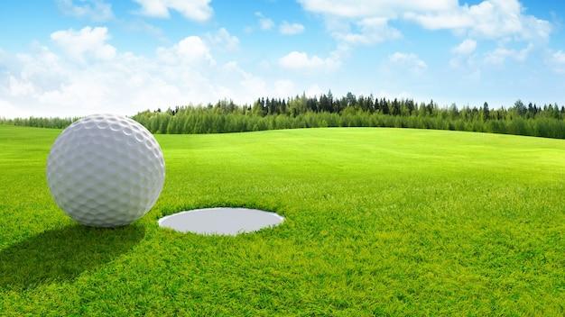 3d визуализации крупный план мяч для гольфа на зеленый в поле для гольфа. спортивный фон.