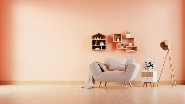 Современная гостиная с креслом имеет шкаф и деревянные полки на фоне стены цвета коралла, 3d-рендеринга