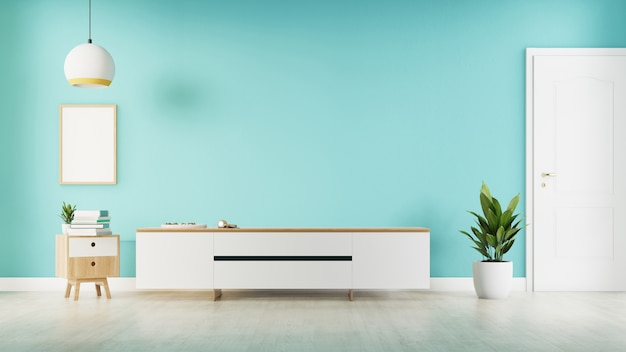 インテリアポスターは、白いテレビキャビネットのあるリビングルームを模擬しています。 3dレンダリング。