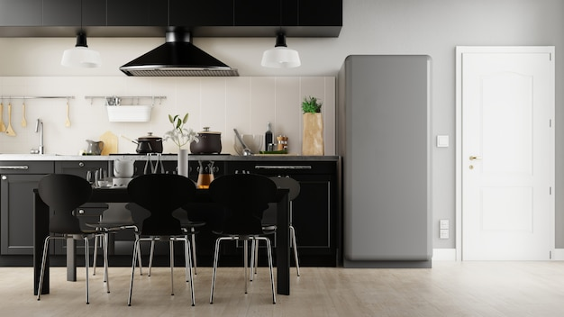 Дизайн интерьера кухни, 3d рендеринг