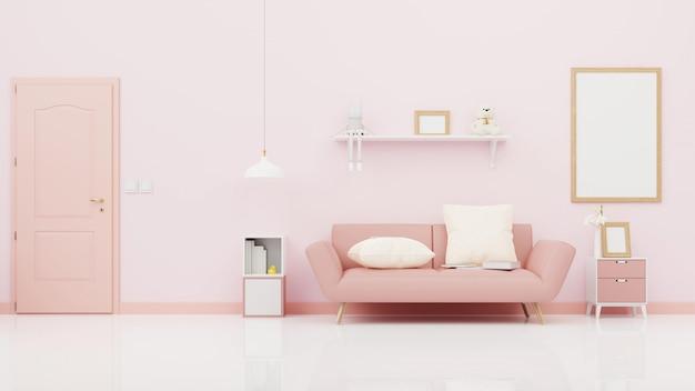 カラフルな白いソファ付きのインテリアリビングルーム。 3dレンダリング。
