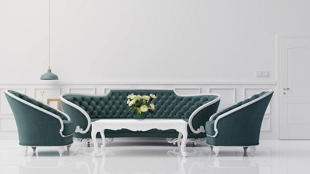 Интерьер макета гостиной с красочным синим креслом 3d-рендеринга