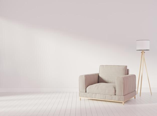 白い壁とリビングルームで灰色のビロードの肘掛け椅子とインテリアのモックアップ。 3dレンダリング