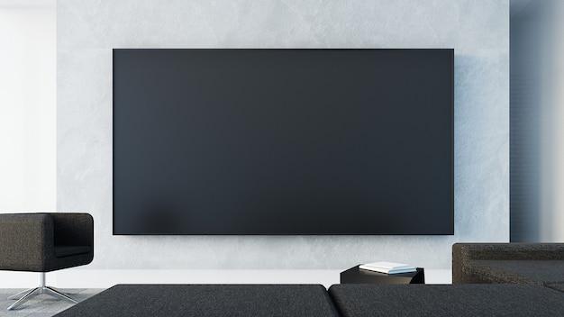 Телевизионная стена в гостиной / 3d-рендеринг