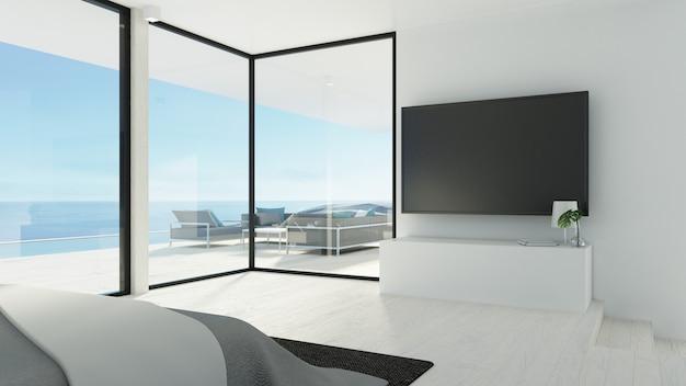 Спальня на пляже и тв / 3d рендеринг