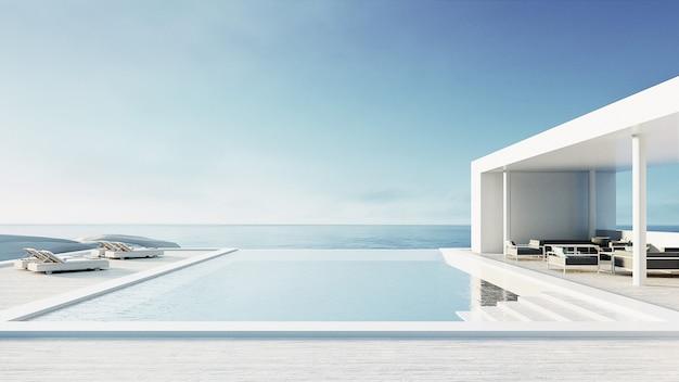 Пляжный салон открытый бассейн и роскошный интерьер / 3d рендеринг