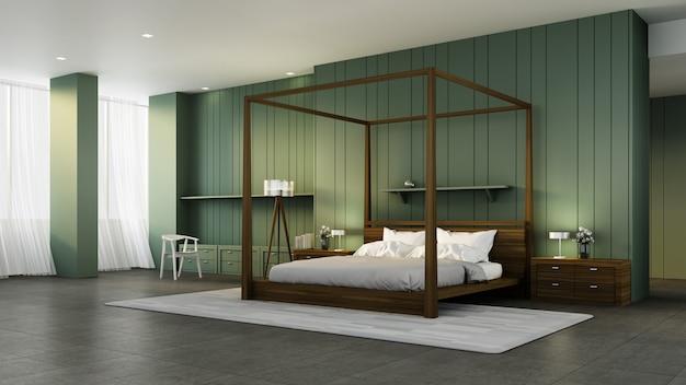 クラシックな寝室のインテリア&緑の壁/ 3dレンダリングインテリア