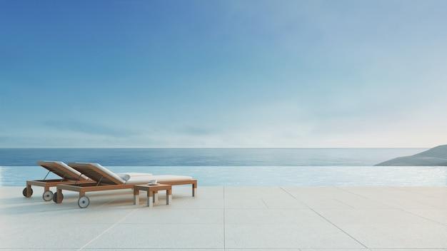 Пляжный салон - вилла на берегу океана с бассейном и видом на море / 3d визуализация