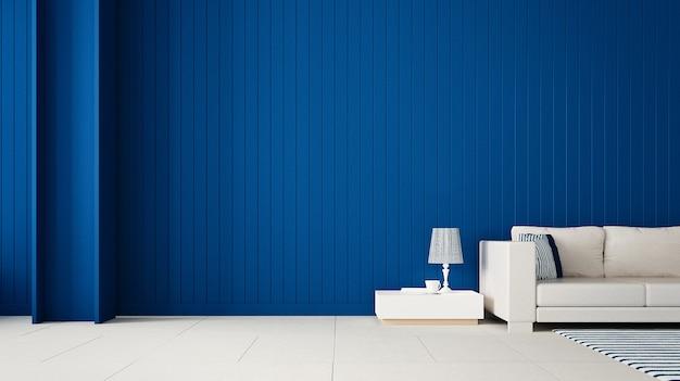 Стильная гостиная с синей стеной / 3d-рендеринг