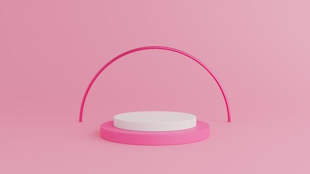 製品のピンクの背景に白色と抽象的な幾何学形状ピンク色の表彰台。 3dレンダリング