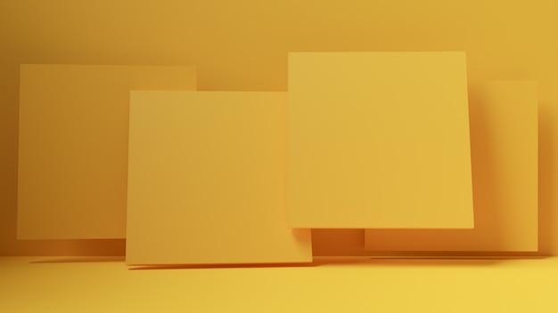 Абстрактные 3d визуализации, дизайн фона с желтыми квадратами