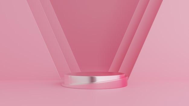 抽象的な幾何学図形、製品のピンク色の背景に表彰台を獲得。最小限のコンセプト。 3dレンダリング