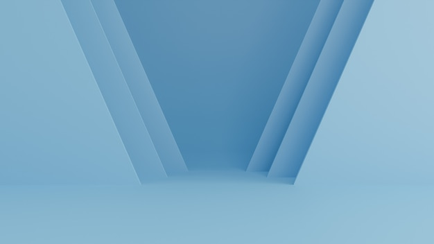青の抽象的な背景、最小限のコンセプト。 3dレンダリング