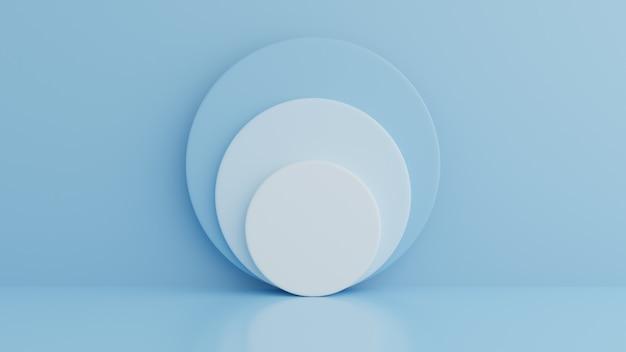 製品、幾何学形状、最小限のコンセプトの青い色の背景に表彰台を獲得。 3dレンダリング