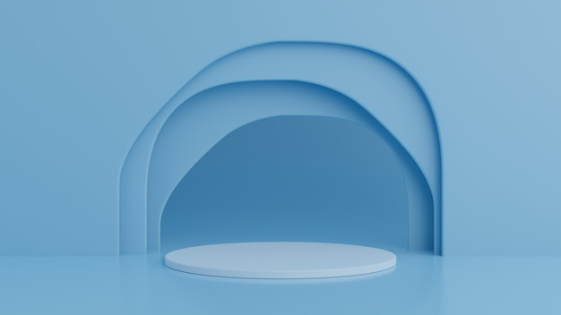 製品の青色の背景に表彰台を獲得。最小限のコンセプト。 3dレンダリング